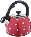 2,6 Liter Flötenkessel Whistling Kettle Teekanne Wasserkanne Wasserkessel Rot