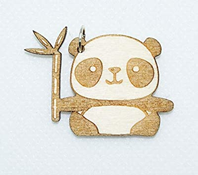 Collier avec pendentif en bois - Panda avec bambou à gauche contour - Collier au choix