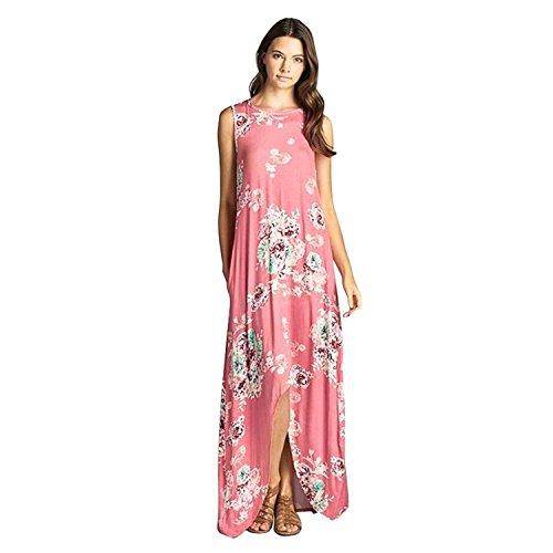 NewKelly Women Sleeveless Irregular Flower Printed Long Maxi Dress