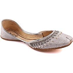Unze Damen Damen Traditional JAINISM Crystal Décor Indischen Casual Leder Flache Khussa Pantoffeln Schuhe UK Größe 3-8 - LS-601