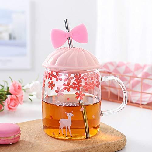 Erjialiu 520 ml rosa niedlich Glas Sippy tassen mädchen Geschenk strohbecher Glas kaltes getränk Tasse Strand Trinken Tasse mit Deckel Griff,Stil C,520ML