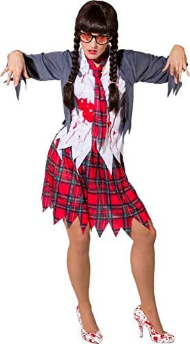ent Zombie School College Girl Halloween Horror Bloody Fancy Dress Costume Outfit (UK 10-14) ()