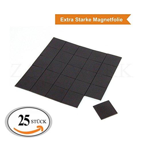 ZADAWERK® Magnetfolie - selbstklebend - 1,8 mm - 35x35 mm - 25 Stück