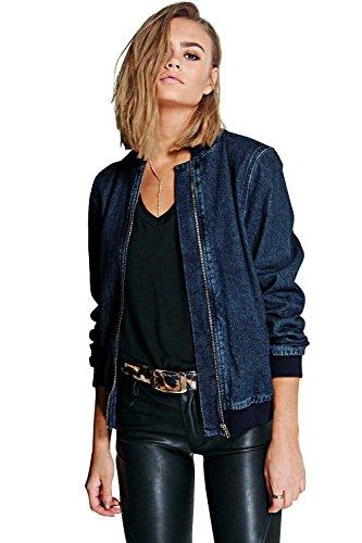 Bleu Blue Womens Kaley Denim Bomber Jacket - 6 Bleu