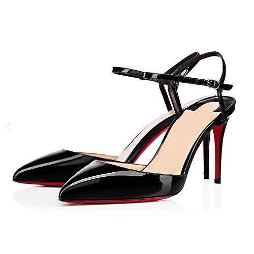 WSS chaussures à talon haut Chaussures femme rivet pochoir extra fin avec des chaussures talons pointus Black