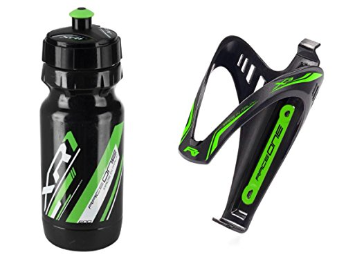 RaceOne.it - KIT Fluo Race - 2 PCS - Fahrrad Wasserflasche / Werkzeuge Fahrrad Flaschen / Bike Water Bottle XR1 + Bike Bottle Cage X3 Bicycle Tools Holder. Race Cycling / MTB / Gravel / Trekking Bike. 600 CC. Color: Grün Fluo - 100% MADE IN ITALY -