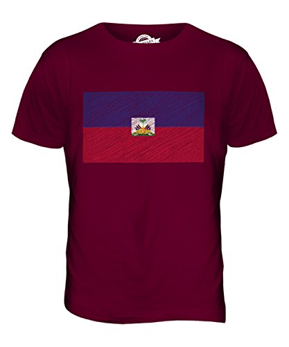 CandyMix Haiti Kritzelte Flagge Herren T Shirt Burgunderrot