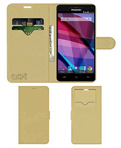 Acm Leather Window Flip Wallet Front & Back Case for Panasonic Eluga Icon 2 Mobile Cover Golden