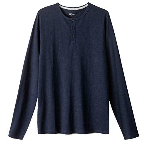 R Edition Mann Shirt Mit Henleyausschnitt, Lange Armel Marine