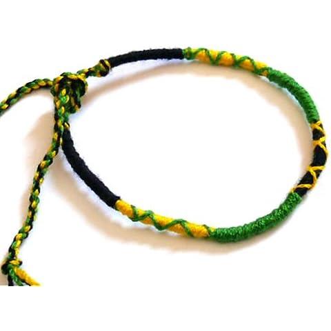 Braccialetto Brasiliano di L 'Amicizia macramè cotone Friendship portafortuna verde giallo nero