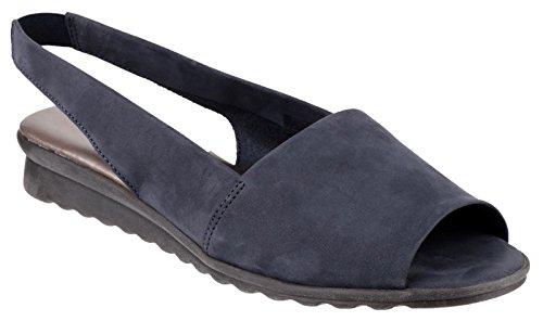 The Flexx Fantazee da donna, in pelle nabuk, colore: blu Navy, suola piatta, aperte in punta con cinturino alla caviglia, elasticizzato, Blu (blu), 35.5
