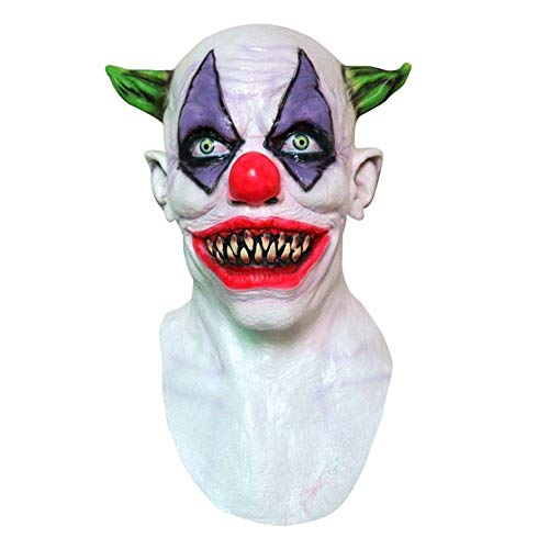 Halloween Clown-Maske, Gruselig Böse Scary Halloween Clown Maske, Halloween Accessoires, horror dämon maske halloween latex maske, one size - Yves25Tate (Color : -, Size : -)