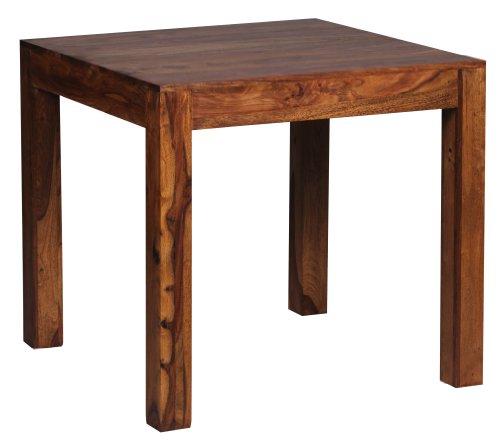 Wohnling Esstisch MUMBAI Massivholz Sheesham 80 x 80 x 76 cm Esszimmer-Tisch Design Küchentisch modern Landhaus-Stil Holztisch quadratisch dunkel-braun Natur-Produkt Massivholzmöbel Echt-Holz unbehandelt