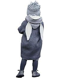 Hffan Niedlich Baby Herbst Winter Mit Kapuze Mantel Hase Jacke Dick Warm Kleider übergangsjacke Wolljacke (1-8 Jahre )
