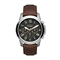Fossil Grant Mens Quartz Watch, Analog Display and Leather Strap FS4813IE