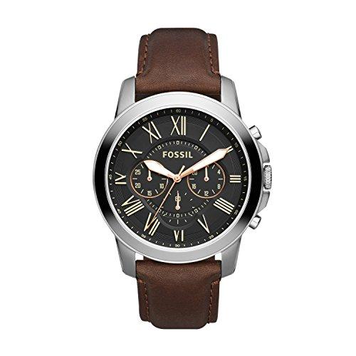 Fossil - FS4813 - Montre Homme - Quartz Chronographe - Cadran Noir - Bracelet Cuir Marron