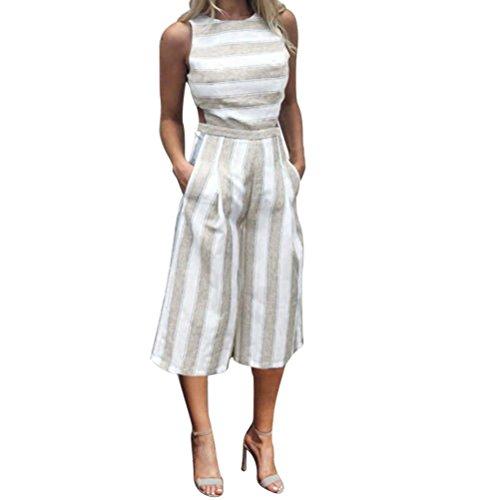 Damen Jumpsuits, GJKK Damen Casual Sommer Strand O-Ausschnitt Overall Trägerlos Jumpsuit Elegant Lang Ärmelloses gestreiftes Jumpsuit Lässige Clubwear Wide Leg Hosen Outfit (Khaki, L)