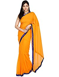 Libas Fashion Women's Georgette Silk Lace Handmade Border Plain Saree (LF03, Orange)