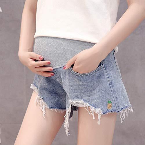 Wnuanjun, pantaloncini di jeans in vita elasticizzata estiva azzurra per le donne incinte abbigliamento di maternità abiti di gravidanza pantaloncini di jeans larghi e allentati
