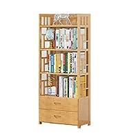 DUOER-Bookcases 3,4,5-Tier Bamboo Bookshelf Bathroom Storage Shelves,Stand Shelves,ideal for Hallway, Bathroom, Kitchen, Living Room (Color : A, Size : 80 * 143cm)
