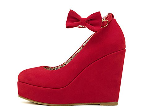 2015 New Sexy Women Fashion Cute Cat Face Buckle Shoes Vogue Wedges RED APRICOT BLACK High Heels Platform Pumps Rote