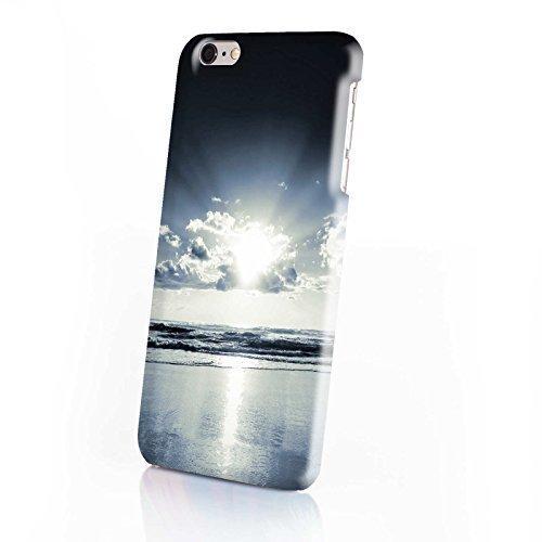 FINOO ® | Handyhülle Komplettdruck Hardcase Hart Schale cover Case Schutzhülle für Iphone 6/6S Plus Löwe gemalt Strand mit Wolken