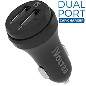 iVoltaa 2 Port Smart Car Charger for Apple iPhone, Samsung , Motorola, Lenovo, Honor, OnePlus, Xiaomi, LeTV, HTC, LG, Pixel, ASUS, Coolpad, Sony, Micromax, Intex, Meizu, Karbonn and all other mobile devices, Tablets, GPS and Other USB rechargeable devices (Black)