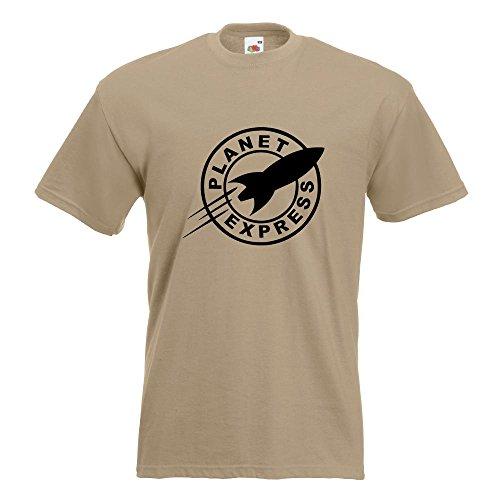 Kiwistar Rakete - Planet Express - Rocket T-Shirt in 15 Verschiedenen Farben - Herren Funshirt Bedruckt Design Sprüche Spruch Motive Oberteil Baumwolle Print Größe S M L XL XXL Khaki