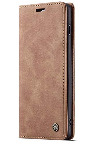 Handyhülle Case Compatible with Samsung Galaxy S10 Plus+, Kusnt Leder Flip Case Handytasche mit Kredit Karten Hülle Geldklammer Unsichtbar Magnet & Stand Funktion Schutzhülle,Braun