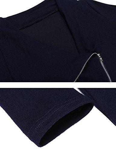 Beyove Damen Strickjacke Cardigan Wasserfall Asymmetrisch Strickmantel Pullover Sweatshirt DunkelBlau-B