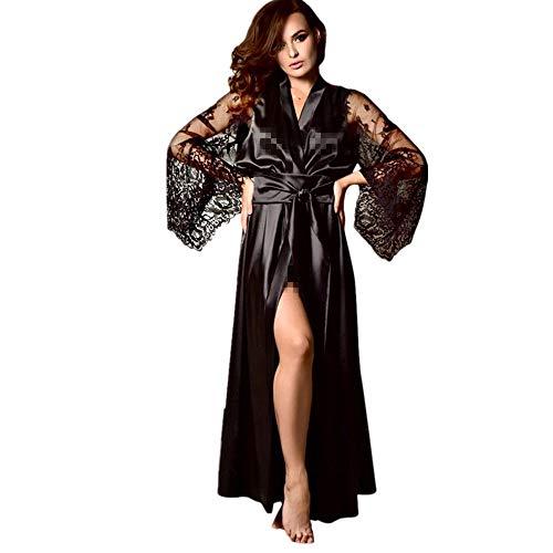 Solike Robe de Nuit Sexy Erotique Nuisette Femme Ensemble de Lingeries Dentelle Séduction Transparent Longues Ouvert Pyjama Ceinture Bandage Temptation Babydoll Peignoirs