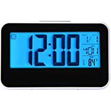 hevoiok Smart reloj calendario tiempo temperatura pantalla Digital reloj despertador LED Digital reloj retroiluminación dormitorio impermeable silencioso Snooze Wakey alarma
