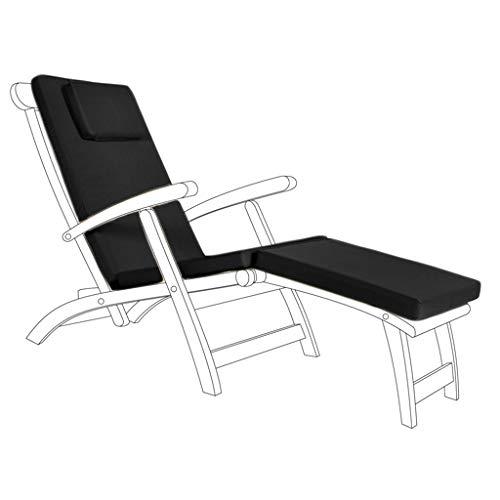Schwarze Wasserfeste Deck Chair Polsterauflage für Garten Sonnenstuhl Stuhl Bett (Betten Deck)