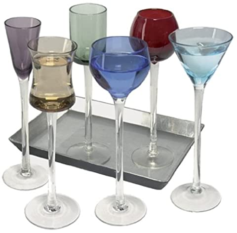 7 Piece Long Stem Liqueur Set | Artland Jewel Tone Cordial Set, Liqueur Glasses, Apertif Glasses, Digestif Glasses