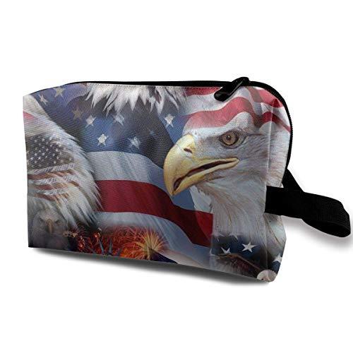 Reisen Make-up Kosmetiktasche Pinsel Tasche American Eagle Flag Reißverschluss Stift Veranstalter Tragetasche hübsche Make-up Taschen -