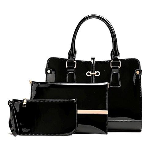 Coolives Damen Quadratischer Handtasche Set 3 Stück PU Lack Leder Schwarz EINWEG