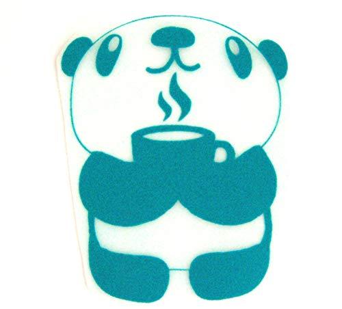 Bügelbild, Motiv: Panda, Version: N, Größe: 9,5x12cm, Farbe: türkis, heißsiegelfähige Flockfolie auf Basis von Viskosefasern - Bügel-tee