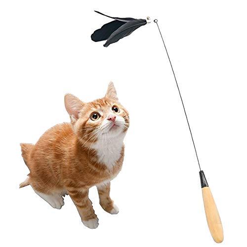 Jnzr Katzenspielzeug, Federspielzeug Massivholzgriff Lustiger Fänger Interaktives Spielzeug Natürliche Gänsefeder Material Geeignet Zum Trainieren Und Necken Ihrer Kätzchen (2 Stück) -