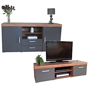 Sydney Graphite & Walnut Large Sideboard & TV Cabinet 140cm Unit Living Room Furniture Set