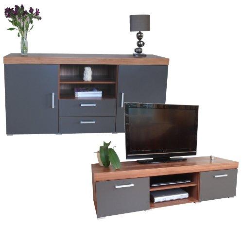 Graphite & Walnut Sydney Large Sideboard & TV Cabinet 140cm Unit Living Room Furniture Set
