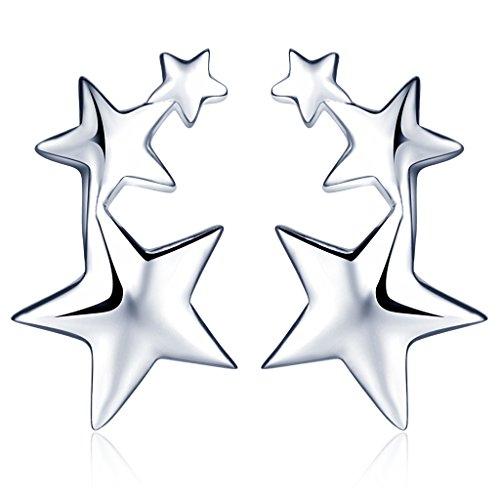 Unendlich U 3 Sterne Pentagramme Damen Ohrstecker 925 Sterling Silber Stecker Ohrringe Ohrschmuck Earrings, Silber