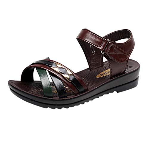 Yvelands Schuhe Damen Sommer Mode Leder Sandalen Wedges Komfort Big Size Schuhe(Braun,39)