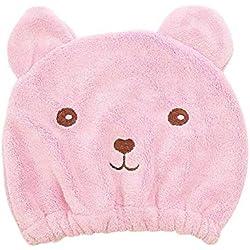 Alivier Sombrero de Pelo seco Kawaii Cartoon Bear Dry Sombrero de Toalla Absorbente súper Absorbente de Pelo