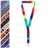 Mehrfarbig Schlüsselband Umhängeband Trageband mit Sicherheitsverschluss und Schwenk Karabinerhaken(1 Regenbogen)