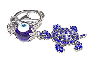 Discount4product Beautiful Metallic Keychain With Turtle Evil Eye Protection Car Hanging - 3