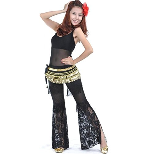 Byjia Bauchtanz Outfit Frauen Tassel Lace Hose Kostüm Professionelle Performance Match Praxis Kleidung Set Black 2