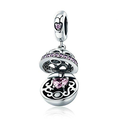 Damen Charm 925 Sterling Silber Beads,Rosa Zirkon Anhänger Fit Frauen Charm Armband und Ketten Baumeln Schmuck Geburtstag Geschenk
