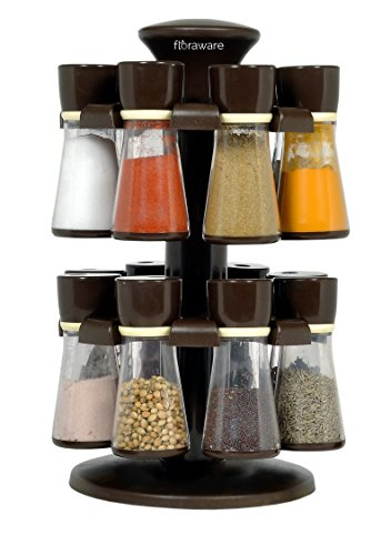 Floraware 16-Jar Revolving Spice Rack Masala Box, Dark Brown,Plastic