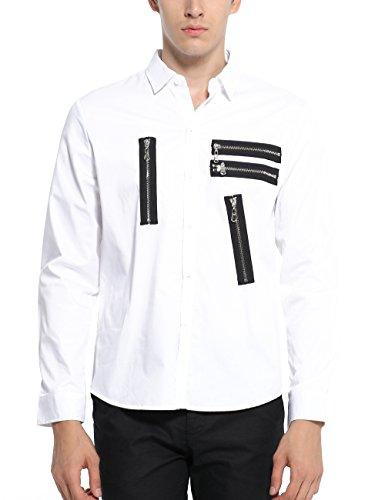 SSLR Chemise Casual Homme Taille ajustée Manches Longues avec Zip Blanc