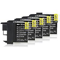5 Cartucce Per Stampanti compatibile con Brother LC-1100 (Nero)